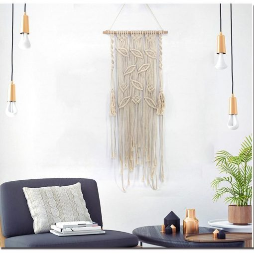 Makramee Blätter Wandbehang